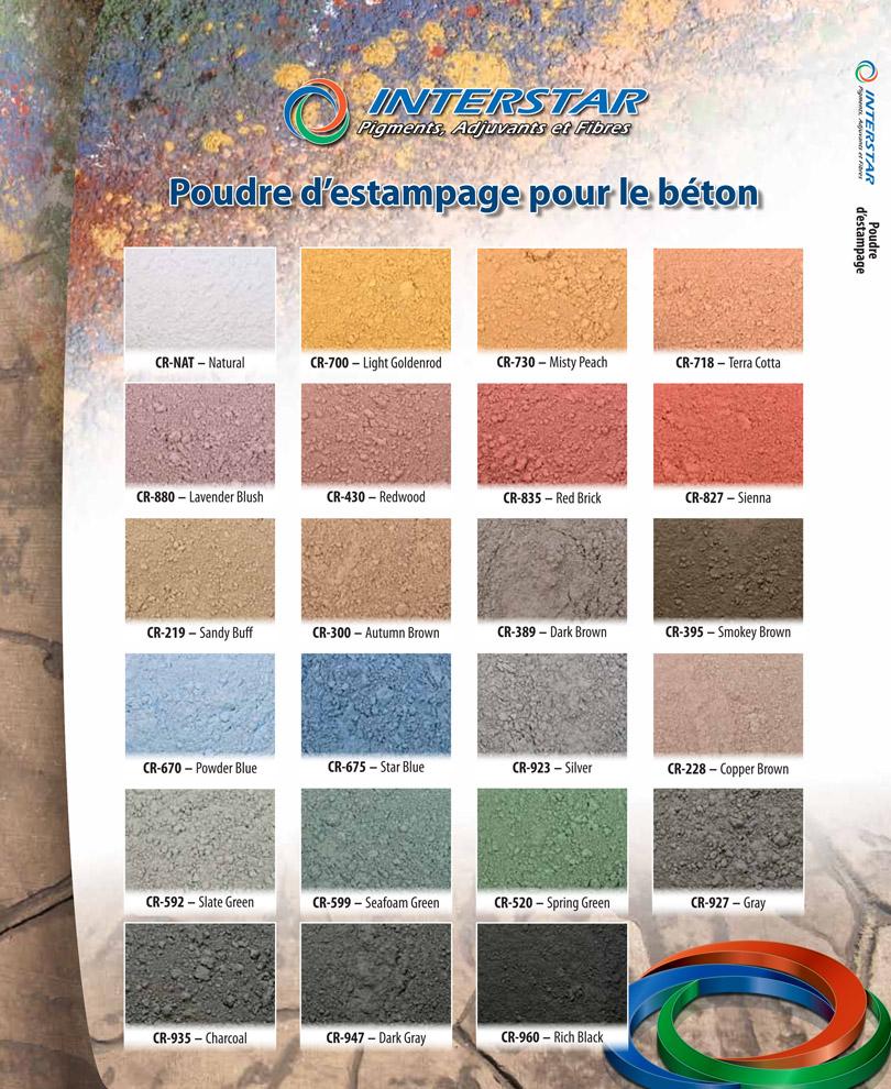 Choix de couleurs poudres d'estampage pour le béton