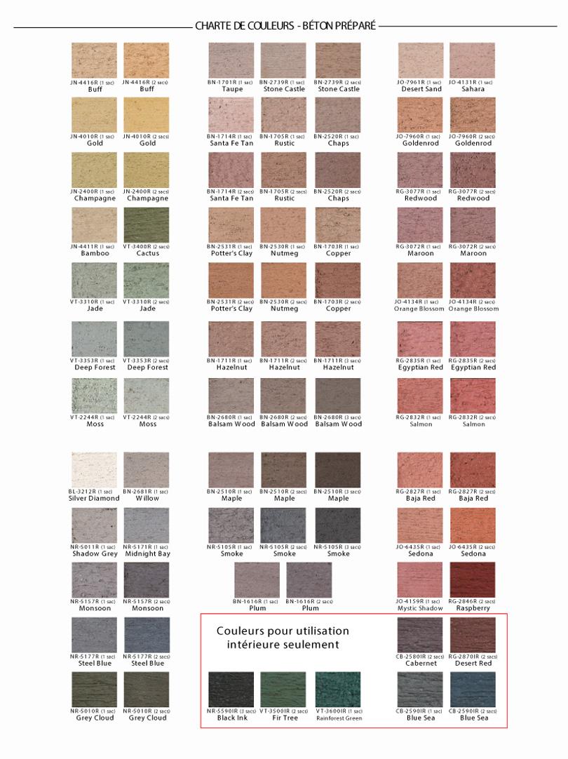Charte couleurs béton préparé