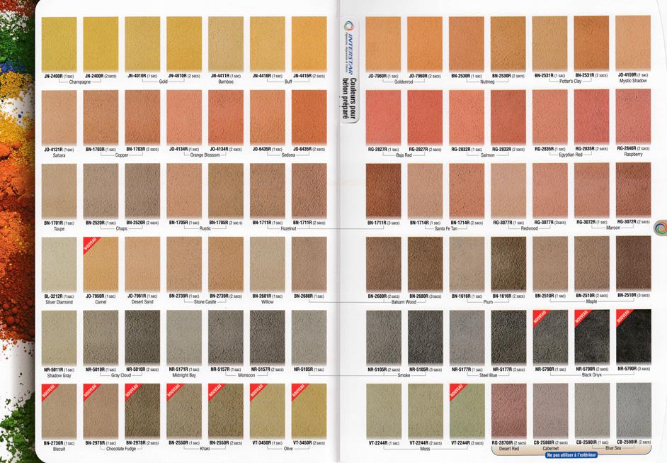 couleurs intégrales pour béton estampés
